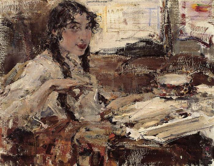 Н.И. Фешин. Картина :  Портрет Т.А. Поповой. 1917.