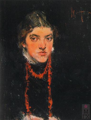 Н.И. Фешин. Картина : Кораловые бусы (портрет Александры Белькович). 1910.
