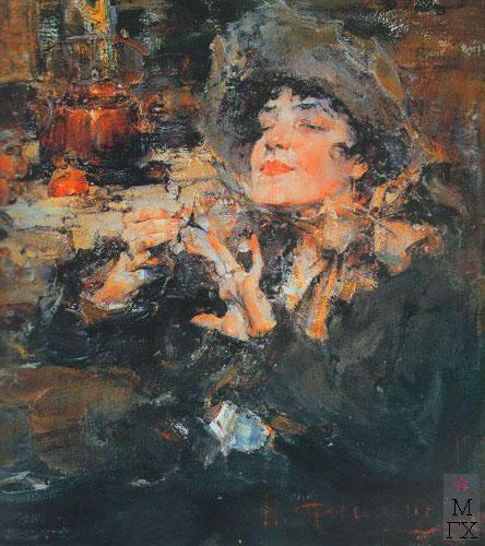 Н.И. Фешин. Картина : Дама за маникюром. 1917.