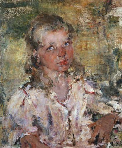 Н.И. Фешин. Картина : Девочка. Этюд. 1900. Холст, масло.