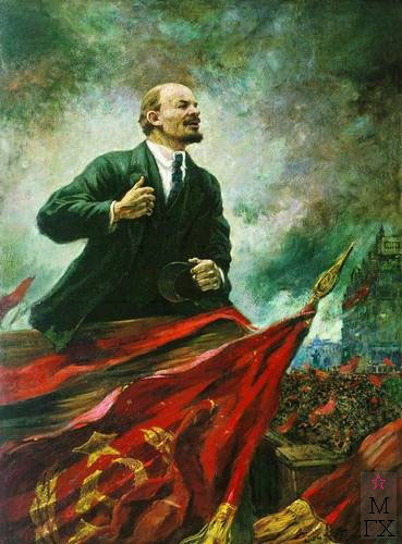 А.М. Герасимов. Ленин на трибуне. 1930. Х.М. 288x177. Центральный музей В.И. Ленина