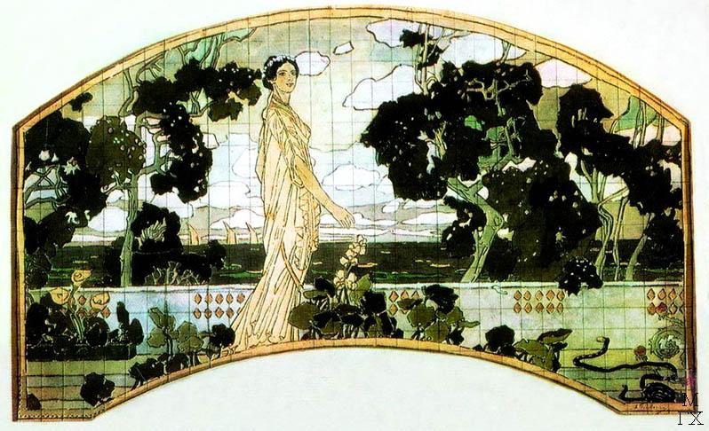 А.Я. Головин. Клеопатра. 1898. Эскиз декоративного майликового панно для гостиницы