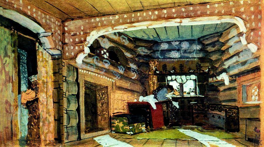 А.Я. Головин. Светлица. Утро (Пролог). 1901. Эскиз декорации к опере Н.А. Римского-Корсакова