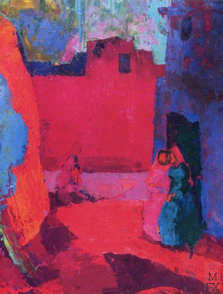 Т.В. Хвостенко. Картина : Туркменский пейзаж. 1979. Камень, энкаустика. 51.5х70