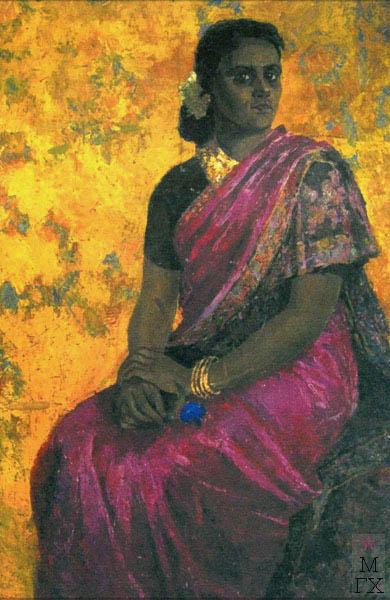Т.В. Хвостенко. Картина : Портрет госпожи Пиллай. 1957. Камень, энкаустика. 80х120