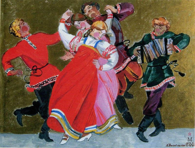 Т.В. Хвостенко. Картина : Русский танец. 1983. Картон, темпера. 68х52