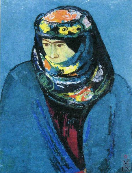 Т.В. Хвостенко. Картина : Портрет туркменки. 1976.Камень, энкаустика. 51.5х70