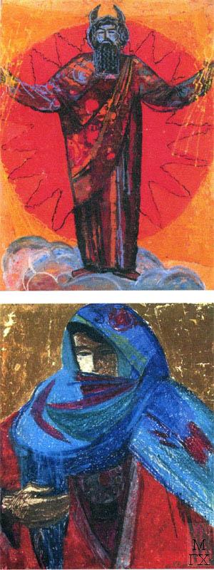 Т.В. Хвостенко. Картина : Бог солнца и Девушка из Дагестана. 1970-е и 1957. Камень, энкаустика. 60х80