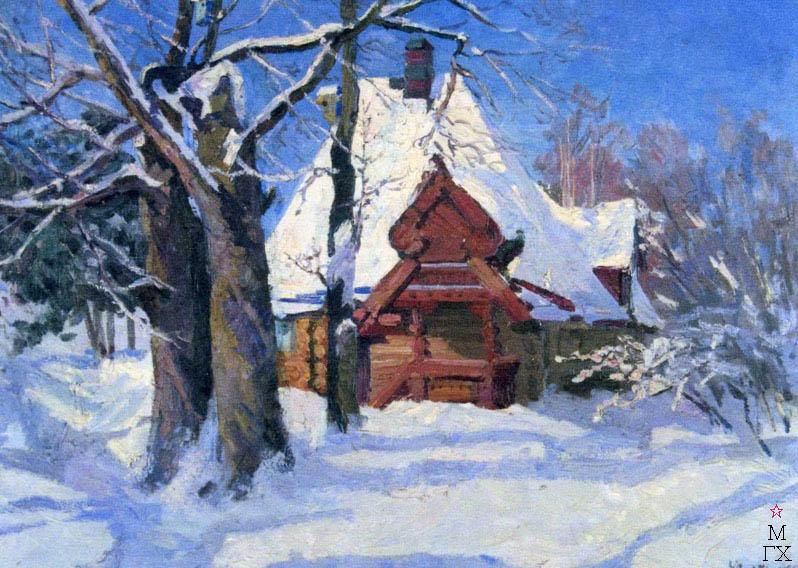 Т.В. Хвостенко. Картина : Скоро весна. Абрамцево зимой. 1958. Х.М. 110х80