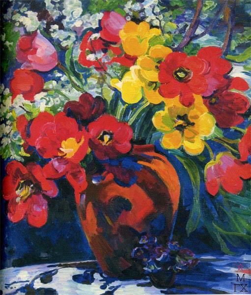 Т.В. Хвостенко. Картина : Весенний букет. 1998. Х.М. 100х80