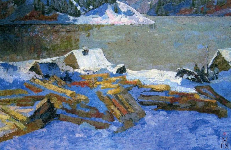 Т.В. Хвостенко. Картина : Зима на Северной Двине. 1965. Камень, энкаустика. 120х80