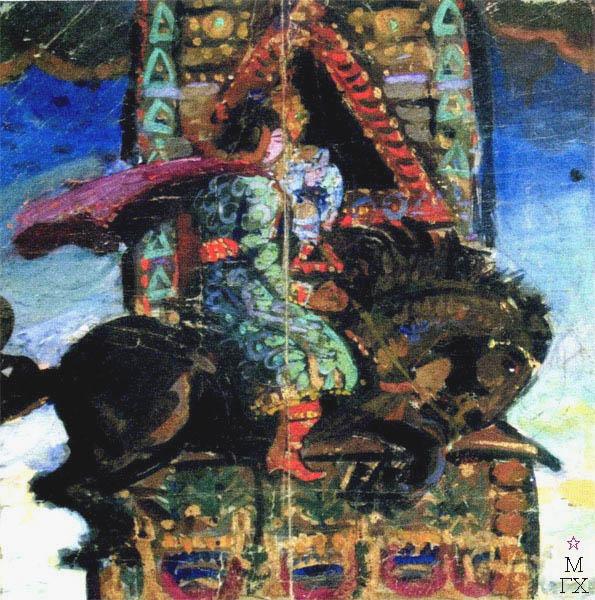 В.В. Хвостенко. Картина : Конек-Горбунок. 1925. Бумага, темпера. 30х28