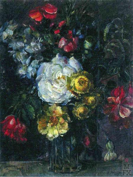 В.В. Хвостенко. Картина : Цветы. 1923. Дерево,масло. 25х32