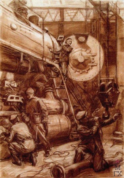 В.В. Хвостенко. Картина : Сборка паровоза. 1951. Бумага, сангина. 73х100