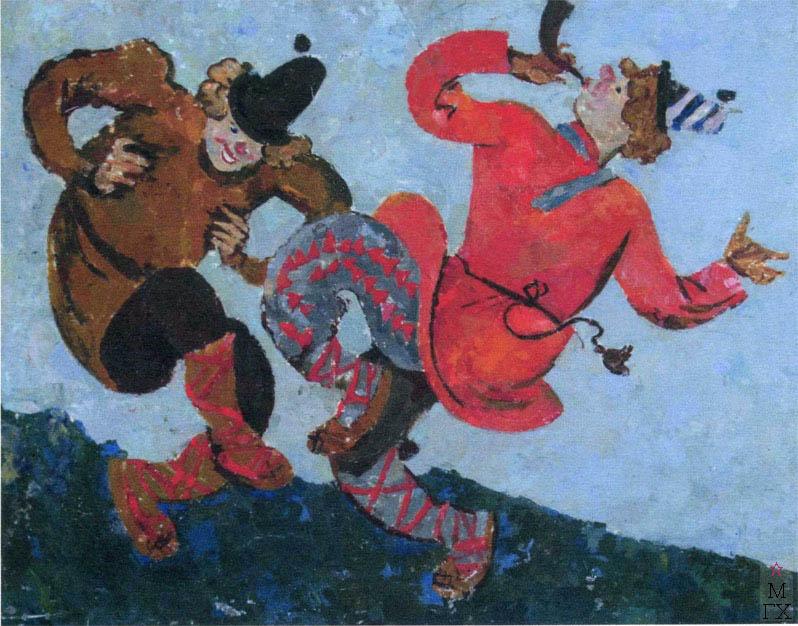 В.В. Хвостенко. Картина : Скоморохи. 1958. Камень, энкаустика. 80х63