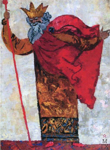 В.В. Хвостенко. Картина : Царь Берендей. 1959. Камень, энкаустика. 57х78
