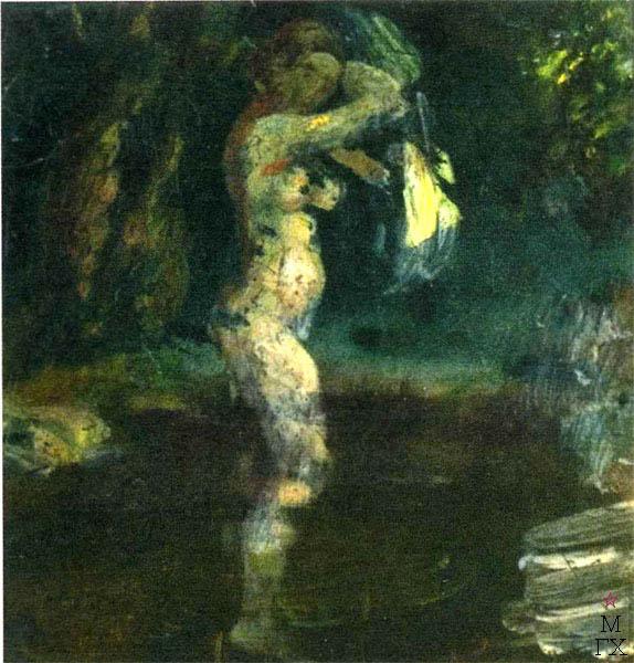 В.В. Хвостенко. Картина : Купальщица. 1930-е. Облицовочная печная плитка, энкаустика.15.5х15.5