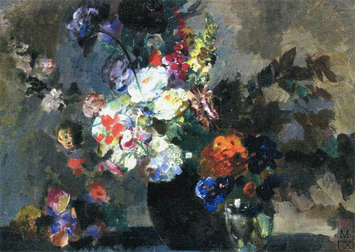 В.В. Хвостенко. Картина : Синий букет с белыми цветами. 1930-е. Оргалит, масло. 73х51.5