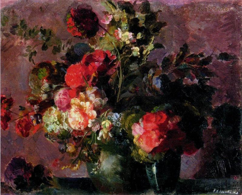 В.В. Хвостенко. Картина : Красные цветы. 1928. Оргалит, масло. 67х53.5
