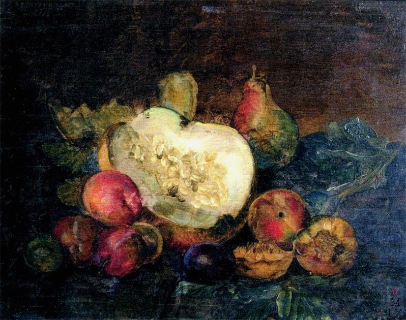 В.В. Хвостенко. Картина : Натюрморт с фруктами. 1927. Фанера, масло. 40х30