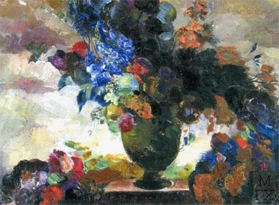 В.В. Хвостенко. Картина : Цветы в вазе. 1926. Оргалит, масло. 67.5х49