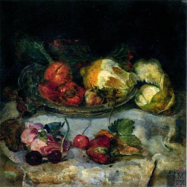 В.В. Хвостенко. Картина : Натюрморт с фруктами. 1927. Дерево,масло. 31х31