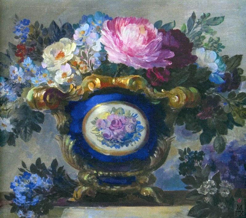 В.В. Хвостенко. Картина : Цветы в синей вазе. 1920-е. Холст, масло, темпера. 43х34.5