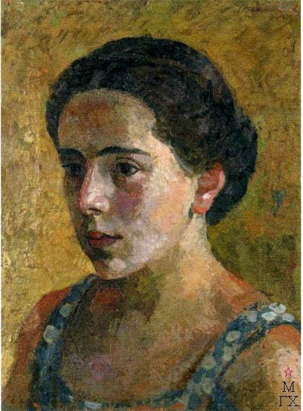 В.В. Хвостенко. Картина : Портрет Верочки. 1935. Холст, энкаустика. 30х40