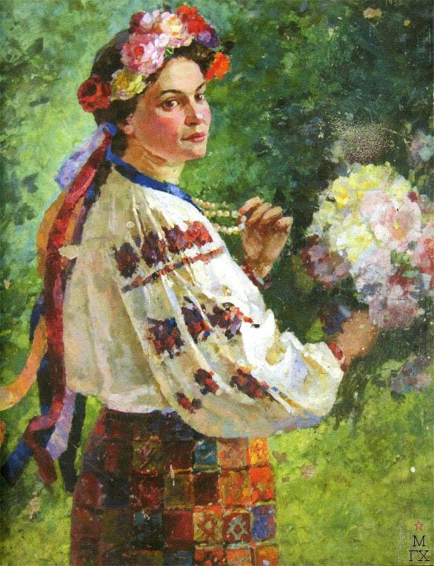 В.В. Хвостенко. Картина : Украинка. 1952. Камень, энкаустика. 85х100