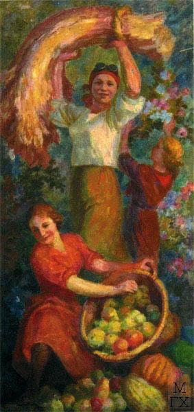 В.В. Хвостенко. Картина : Плодородие. 1940. Камень, энкаустика. 42х80