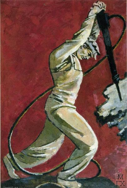 В.В. Хвостенко. Картина : Бурильщик. 1958. Камень, энкаустика. 49х71