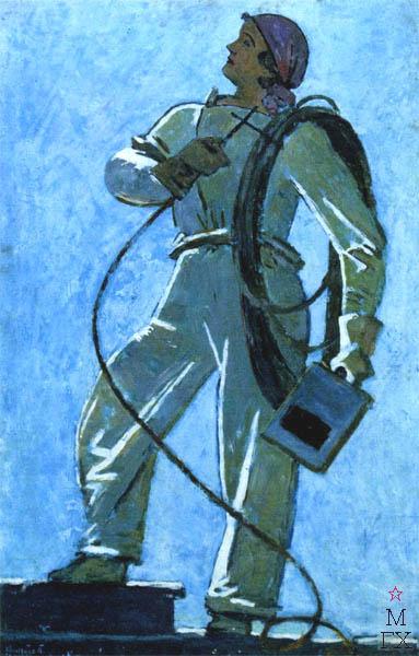 В.В. Хвостенко. Картина : Сварщица. 1958. Камень, энкаустика. 47х71