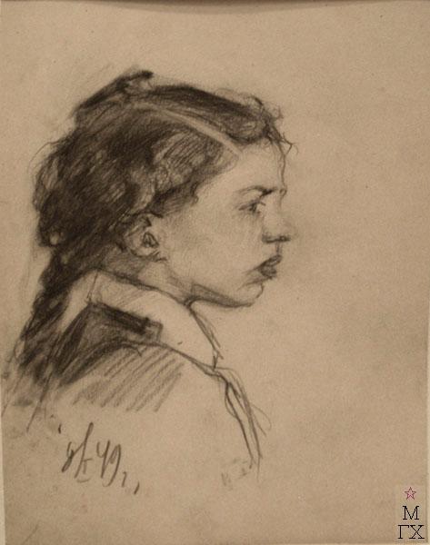 Д.С. Жилов. Портрет девочки. Бум.Кар. 1949.