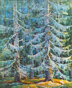 Художник В. В. Карев. Картина, живопись : Мертвый кедрач. 1918.