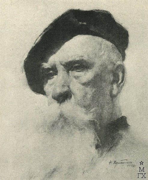 Н.П. Христенко. Картина : Портрет профессора Н.Н. Соболева. 1957. Уголь