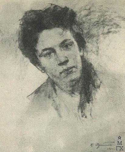 Н.П. Христенко. Картина :  Женская голова.1969. Уголь.