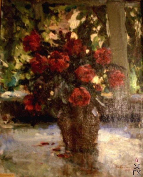Н.П. Христенко. Картина : Натюрморт с розами.  Холст, масло