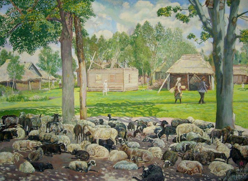 М.И. Климентов. Картина : Овцы на отдыхе. 1929. Акварель, 64х43,3