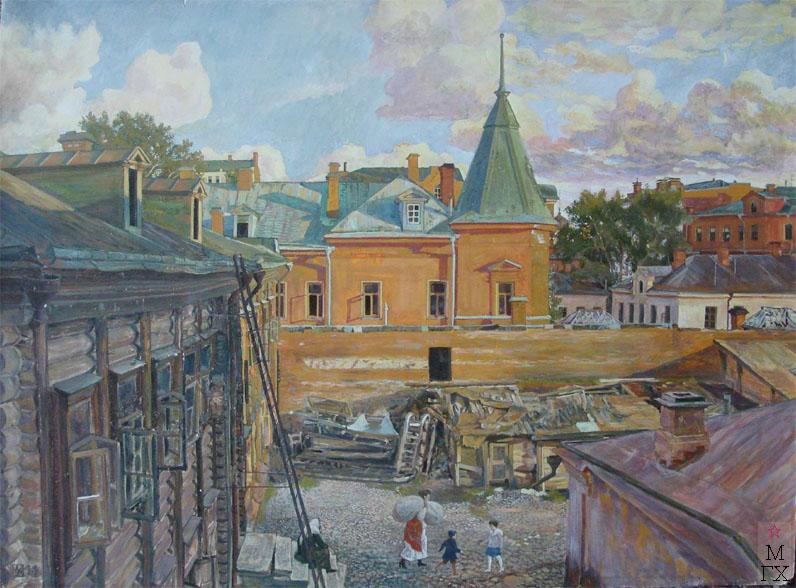 М.И. Климентов. Картина : Дворик на Трубной  улице. Москва. 1919 год. акварель