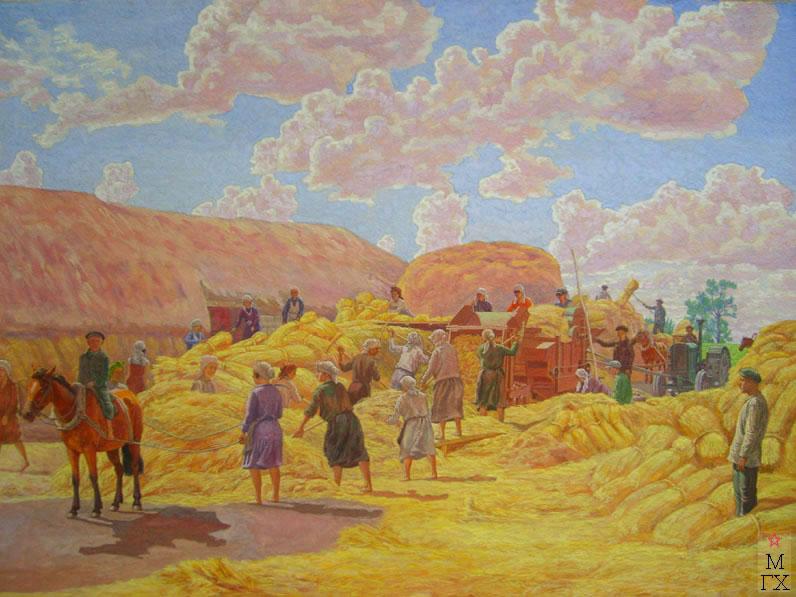М.И. Климентов. Картина : Колхозный труд. 1934. акварель. 66,8х49