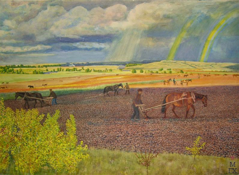 М.И. Климентов. Картина : Под озимь. Труд на пашне.  (Три радуги) 1924 г. акварель, 70,7х46,7