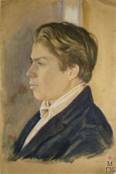 Портрет Федора Ивановича Климентова, брата художника, выпускника Московской консерватории. Акварель.