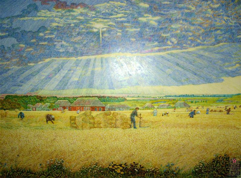 М.И. Климентов. Картина : Жатва. Офорт цветной. 1928 год, 53х36,8