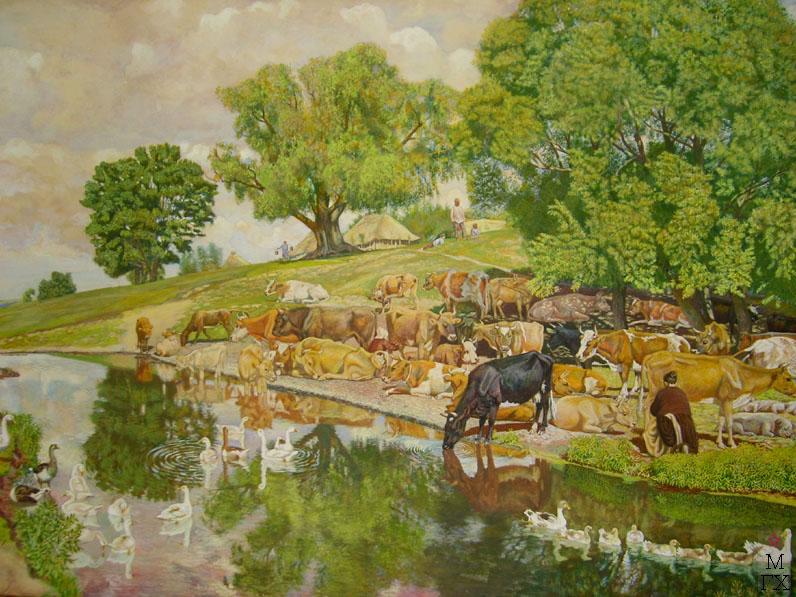 М.И. Климентов. Картина : Полдень у пруда. 1920 год, акварель, 50,8х68,5.