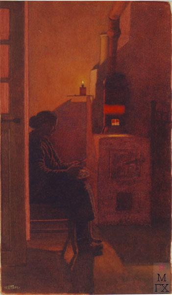 У печурки (Мария Павловна Климентова). 1959 г., акварель.