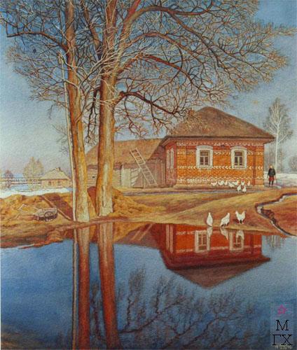 Родной дом художника в д. Алтухово. Акварель. 1942 год.