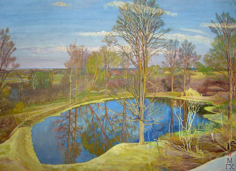 М.И. Климентов. Картина : Весна. Пруд. 1920г., акварель, 50,8х68,5.  Частная коллекция.