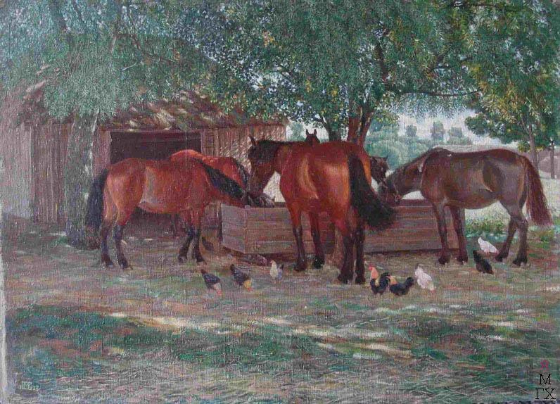 М.И. Климентов. Картина : Кони под вётлами. 1938, холст, масло. 69х50,5