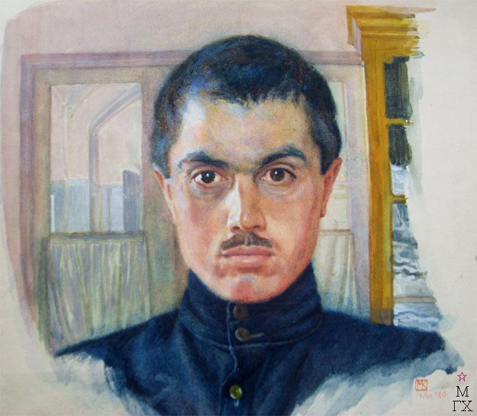 М.И. Климентов. Картина : Автопортрет. 1920 г. Акварель.
