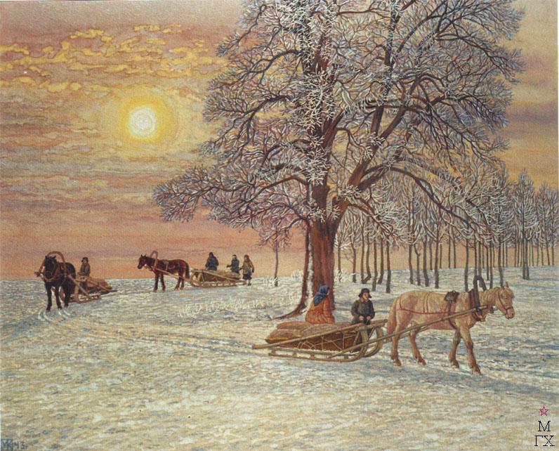 М.И. Климентов. Картина : Зимнее утро. 1943. Акварель.
